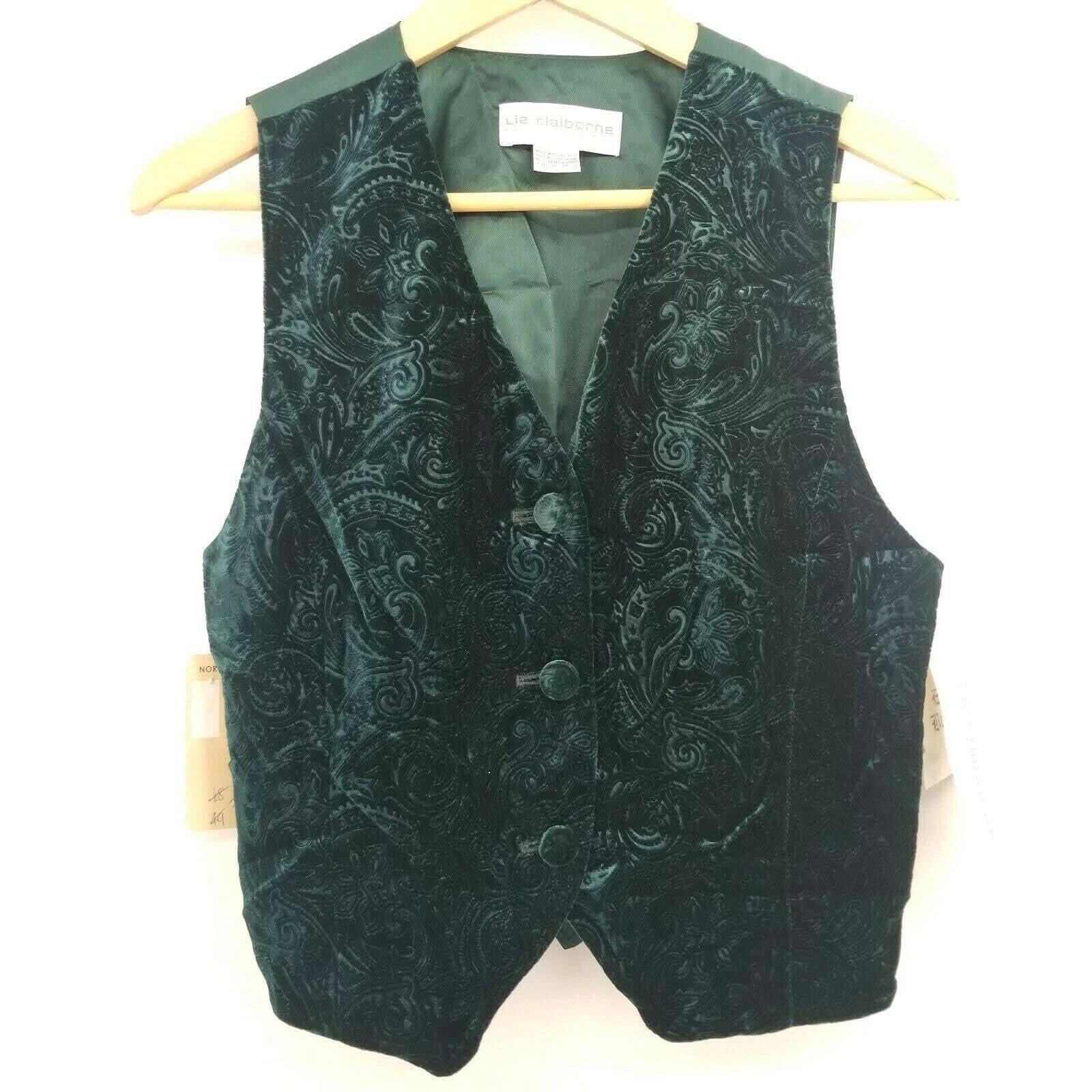 Vtg Liz Claiborne Paisley Holiday Vest