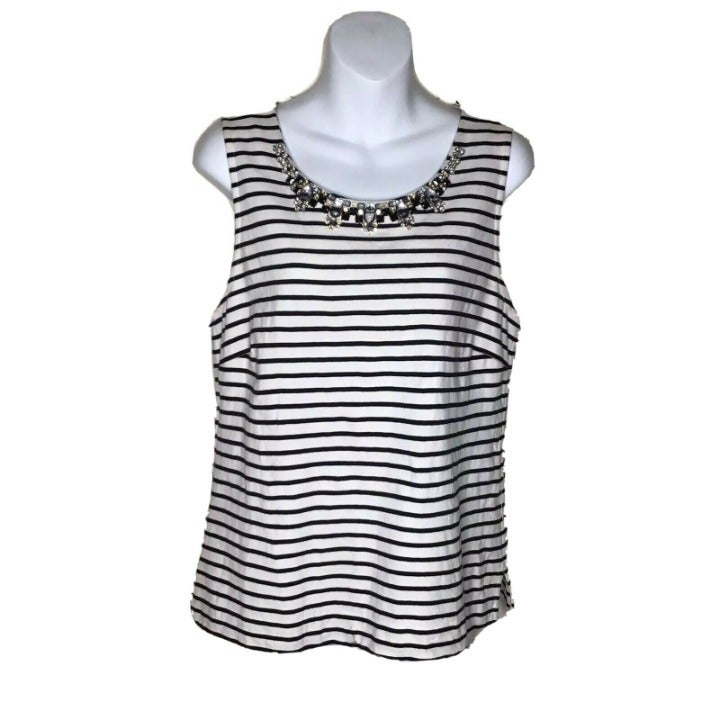 J. CREW Women's Striped Necklace Shell T
