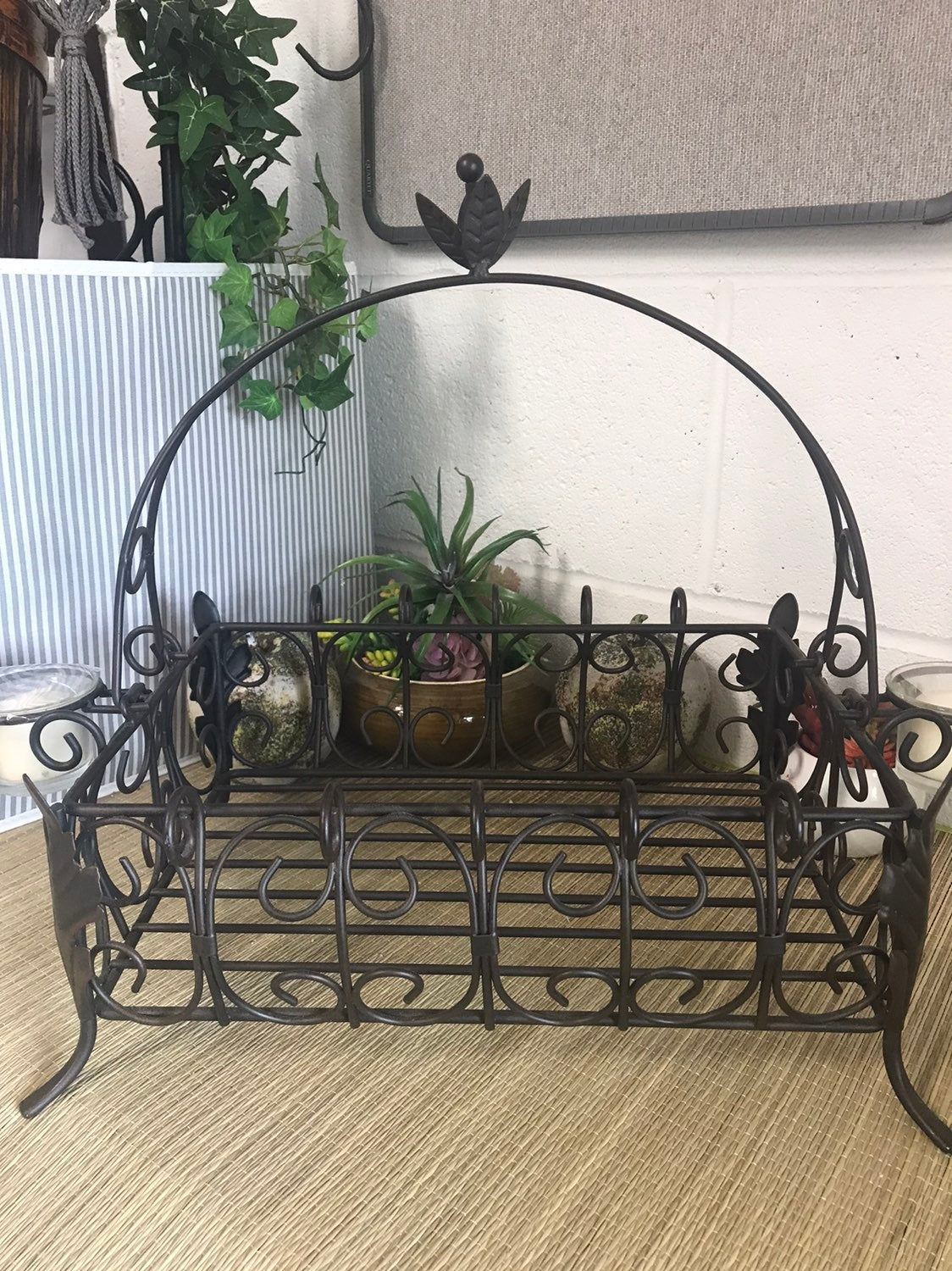 Southern Living Metal Basket with candle