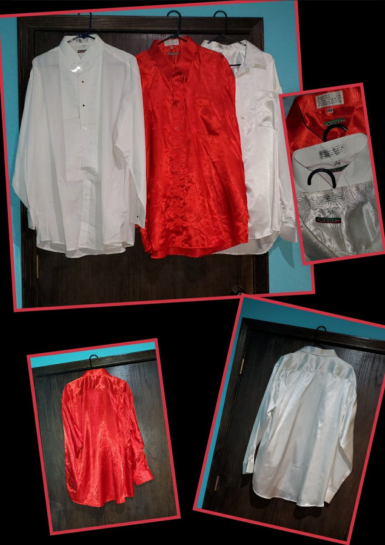 Tuxedo dress satin men's shirts XL 18 34