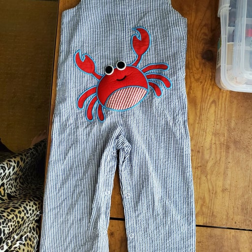 Crab themed striped romper