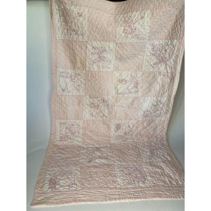 Pink Vintage Hand Sewn Crib Quilt