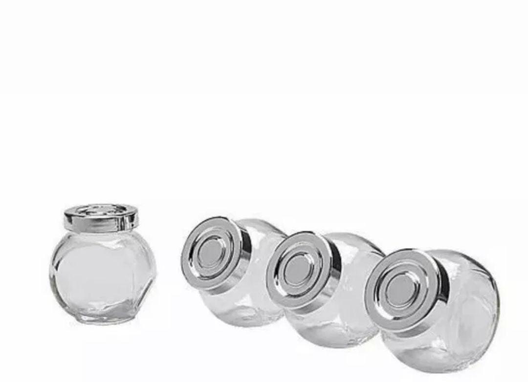 GLASS SPICE , HERBS JARS W LIDS 4PC SET