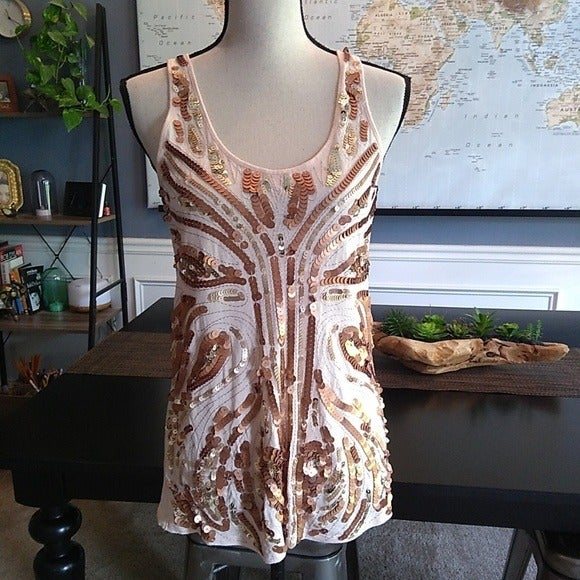 Express Copper & Gold Sequin Tank Top