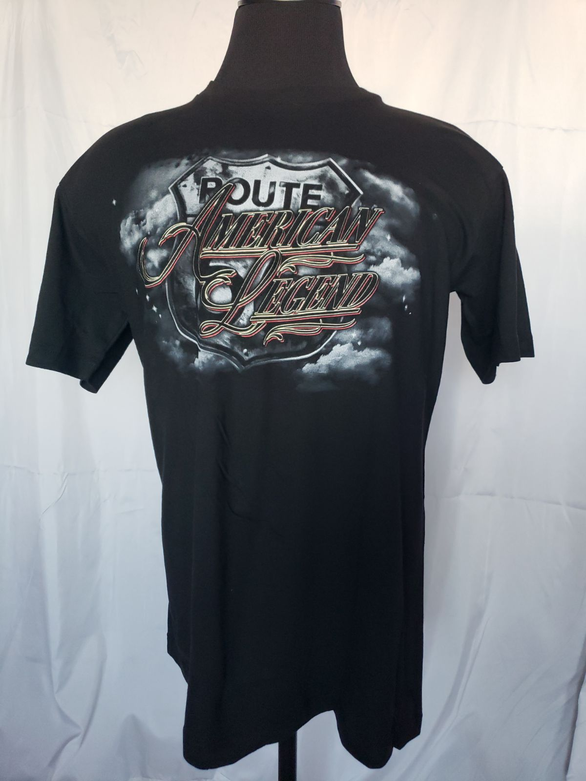 t shirt route 66 biker skull black