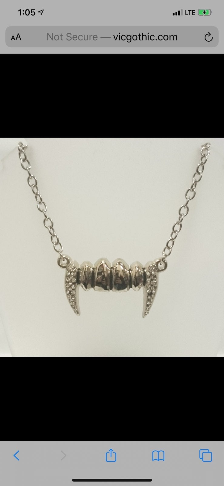 Rock Rebel Silver Vampire Fangs Necklace