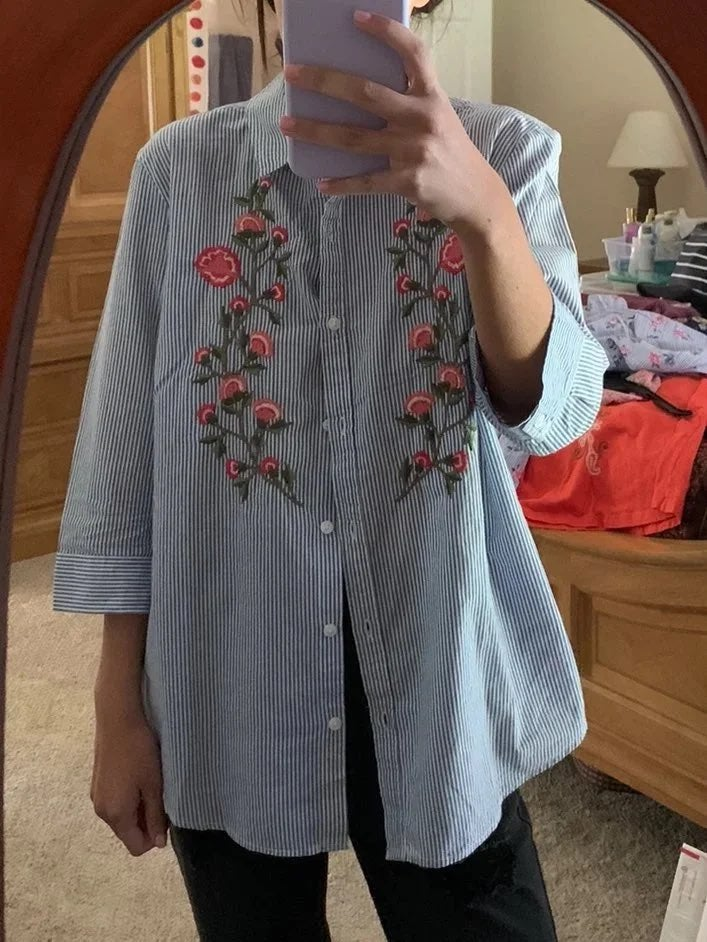 Floral button down shirt