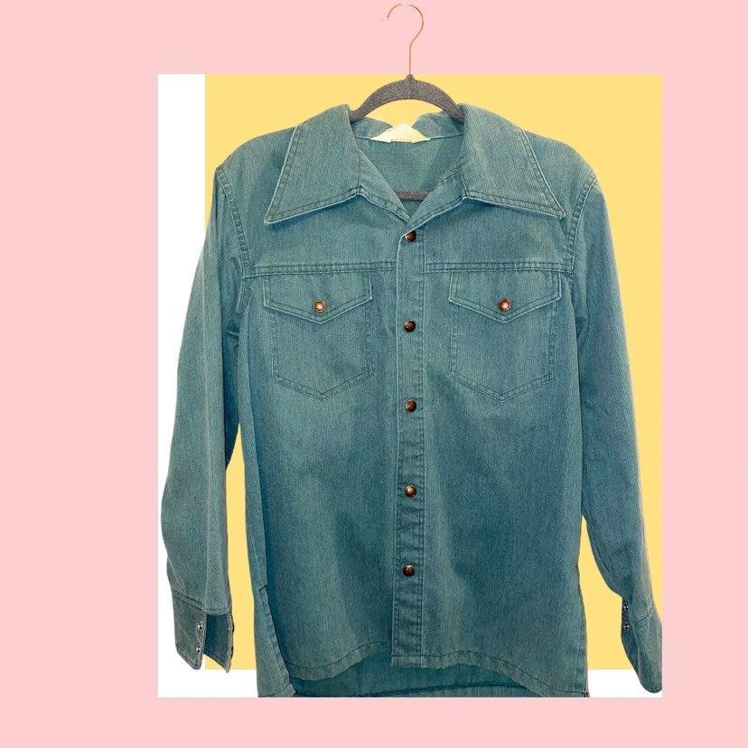 Vintage Green Corduroy Button Up Shirt