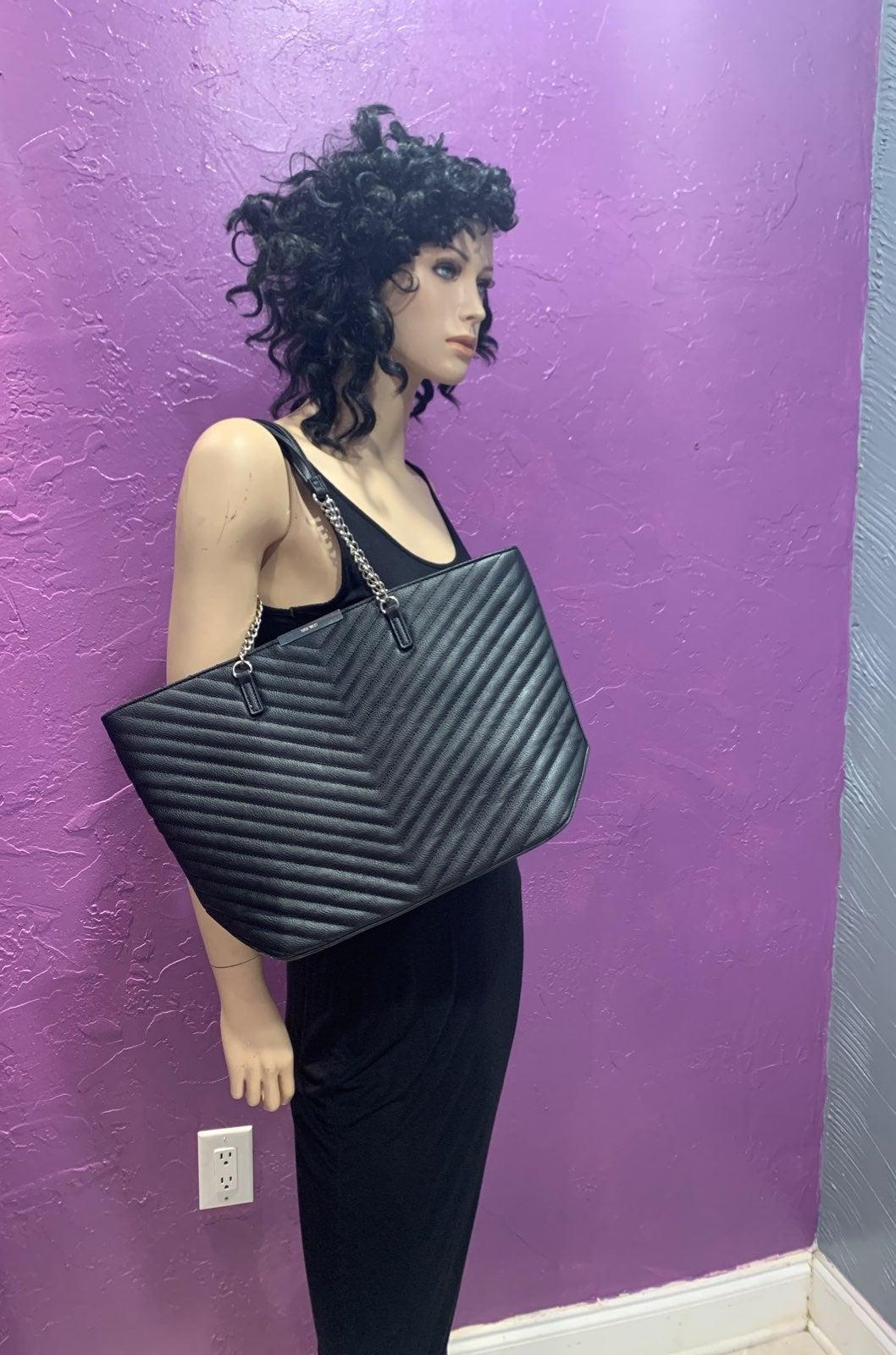 Black Faux Leather Nine West Tote Bag