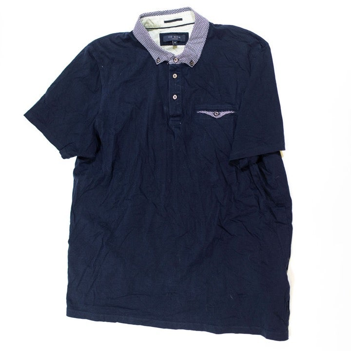 Ted Baker Cotton Solid Blue Polo Shirt
