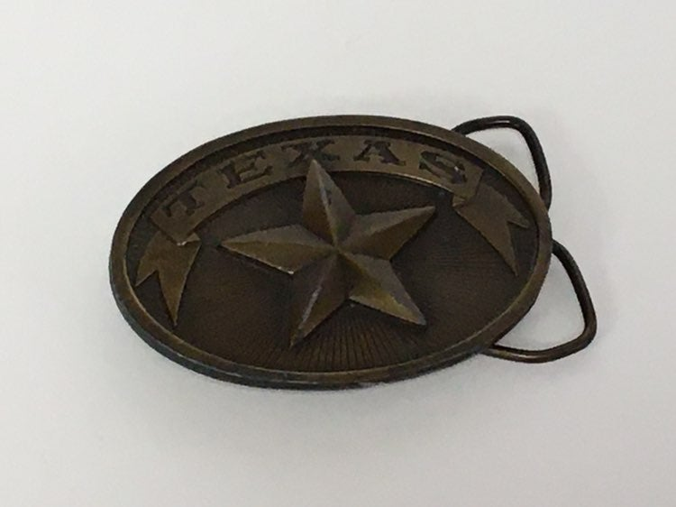 Vintage 1970's Texas Brass Belt Buckle