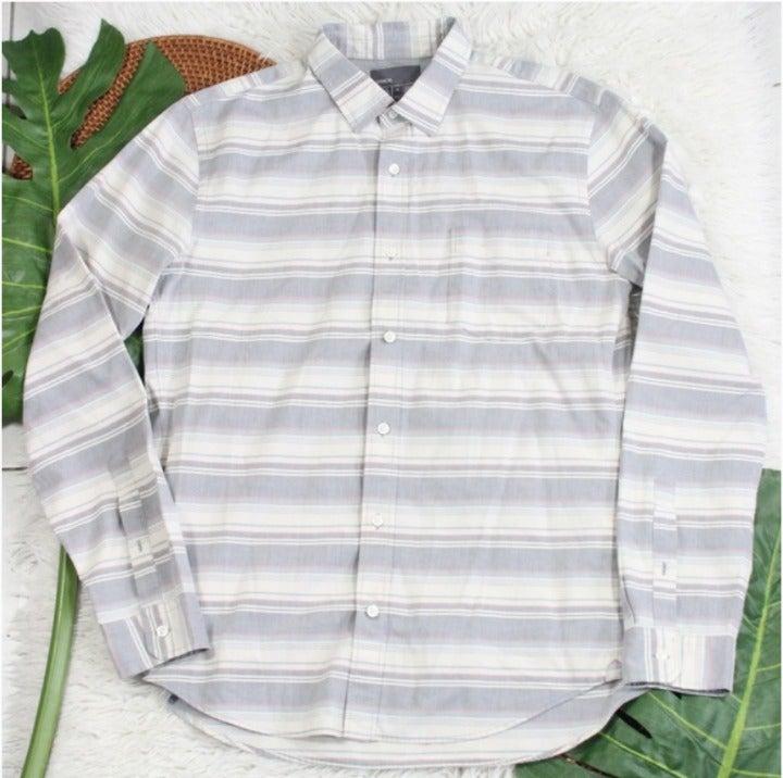 Vince Mens Striped Button Dress Shirt