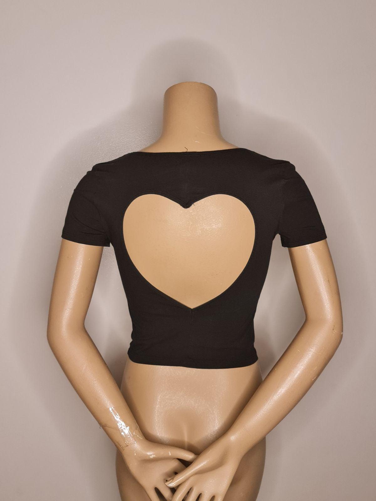 Vs Pink Crop Cutout Heart T-Shirt