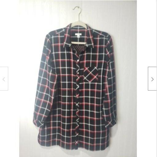 J.Jill Checkered Button Down Tunic Shirt