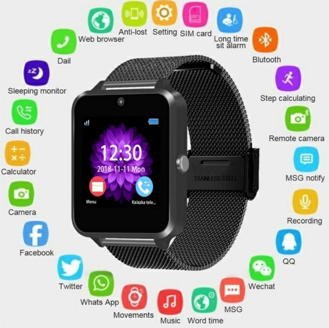 black smartwatch bluetooth or sim w/cam