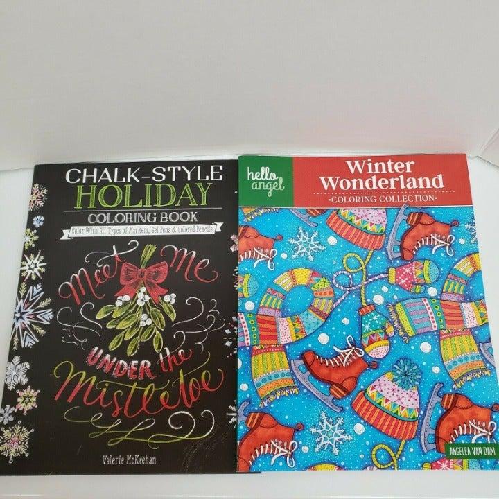 2 Christmas Winter Holiday Coloring Book