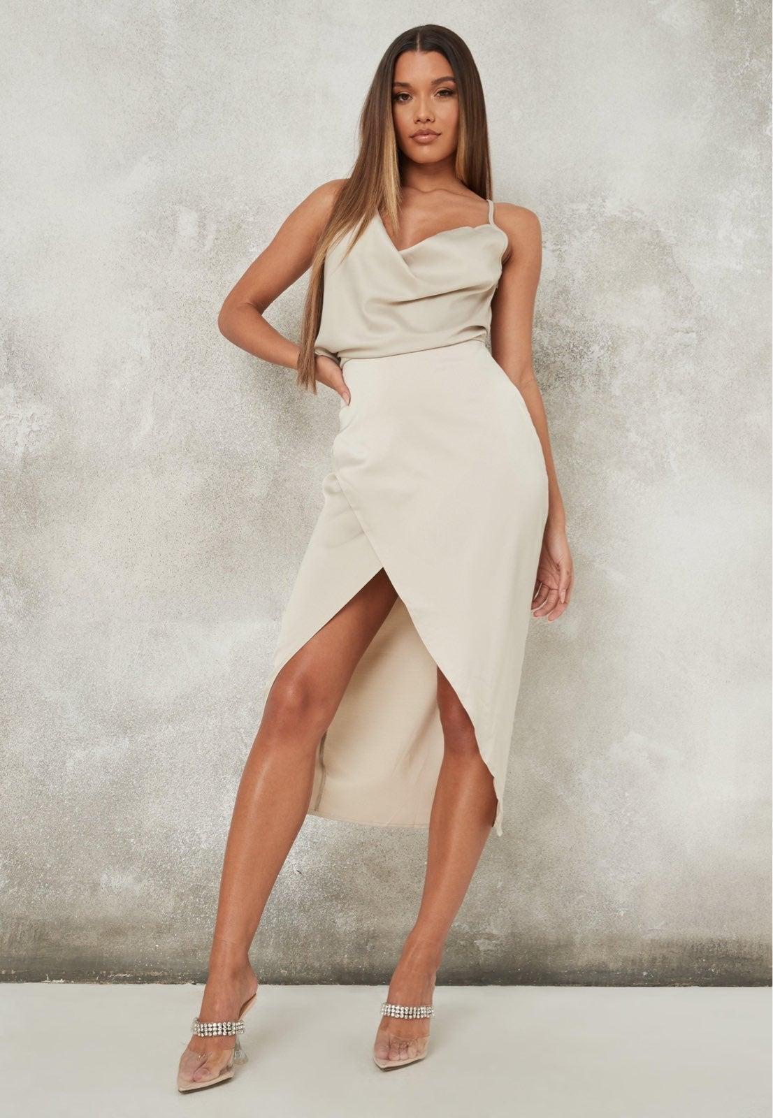Cream satin asymmetric drape midi dress