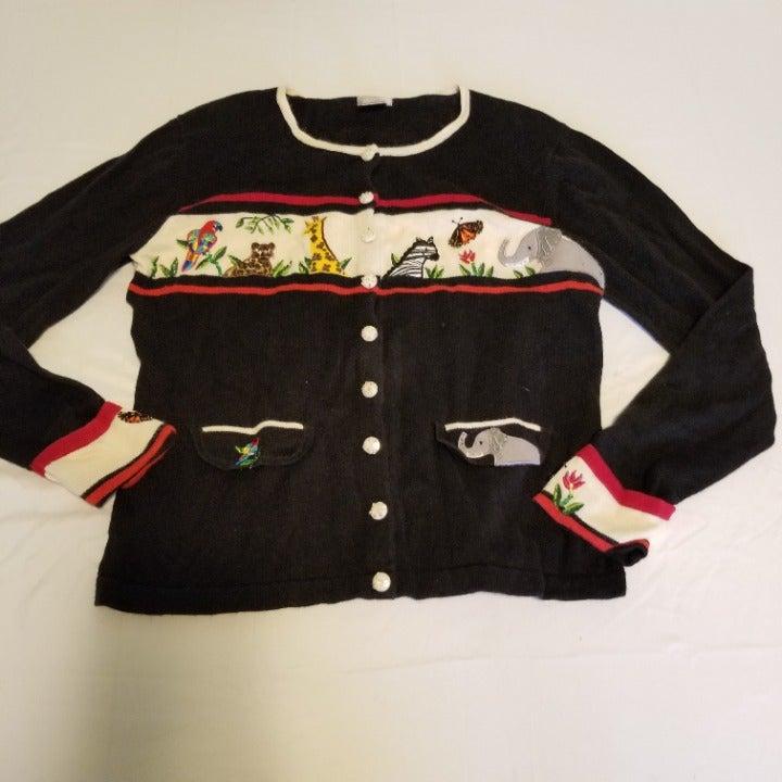 Vintage Berek Zoo Animal Cardigan Sweate