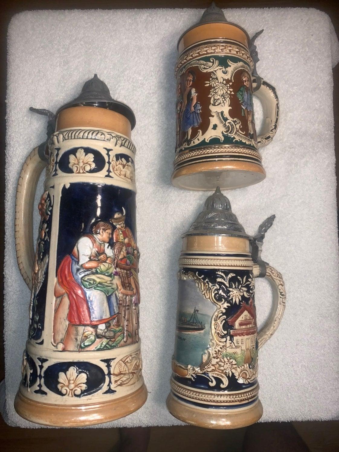 Three Vintage German Steins Old Amazing