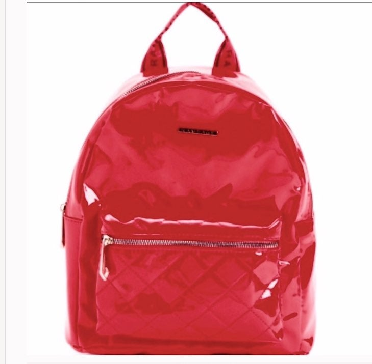 NWT! Rampage Red Quilted Patent Backpack