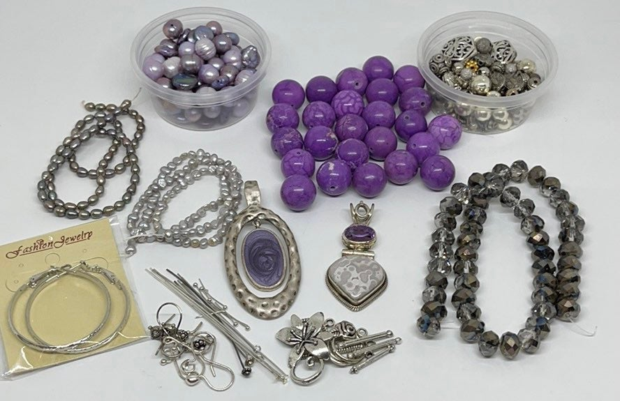 Purple & Silver Jewerly Making Lot