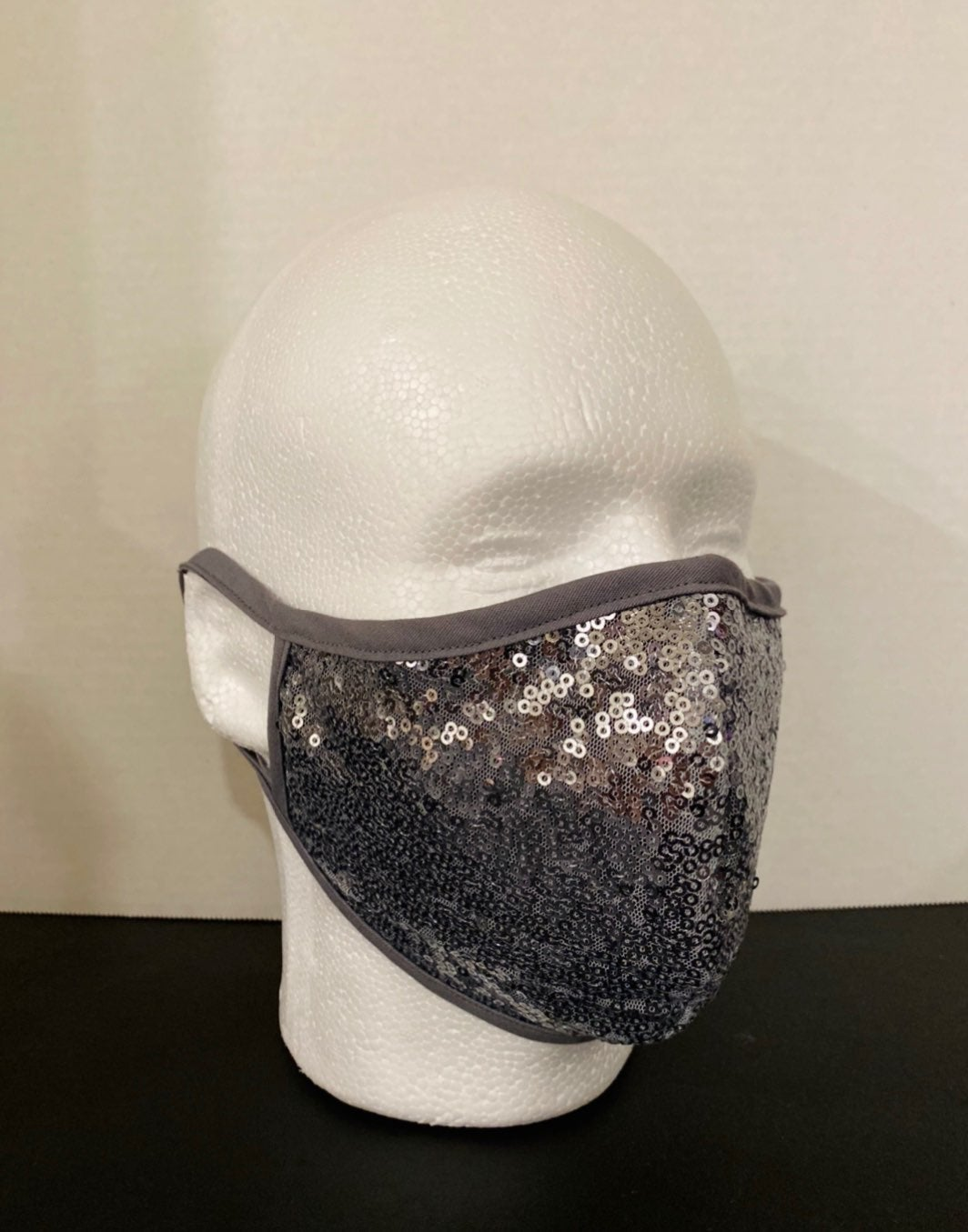 Charcoal/Gray Sequin Face Mask