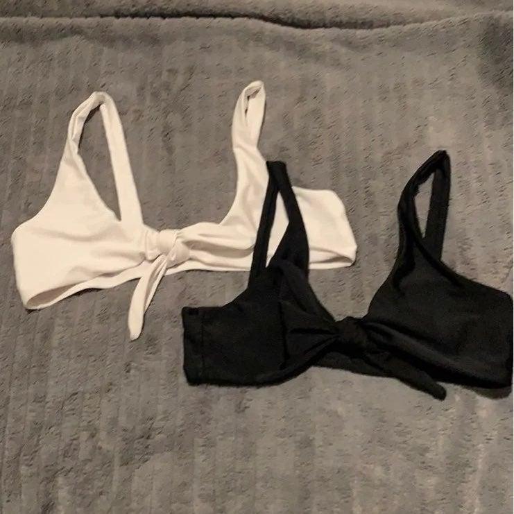 Front tie bikini tops