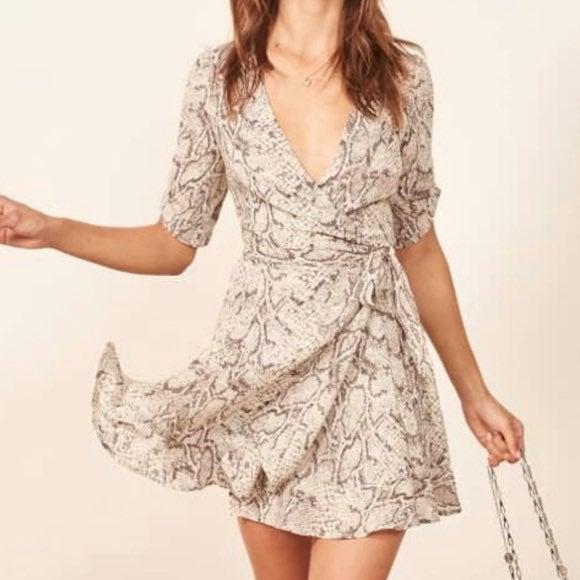 Reformation Monica Snake Print Dress
