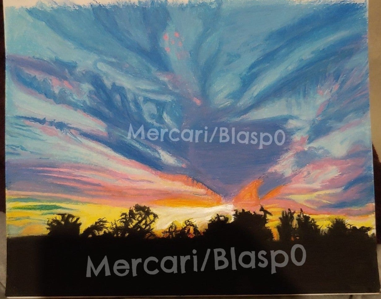 California Sunset in Oil Pastel Drawing