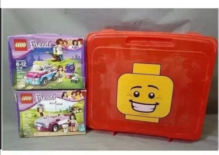 Lot of 2 lego friends boxes with carry b