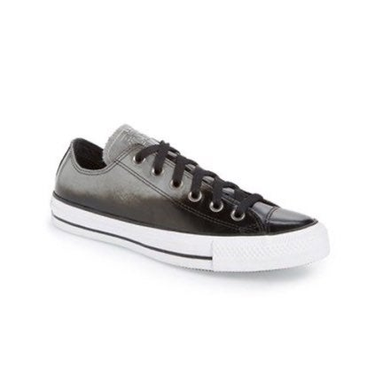 Converse Black Patent Leather Low Tops