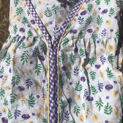 1X Robe Cotton Floral Zip Seersucker NWT