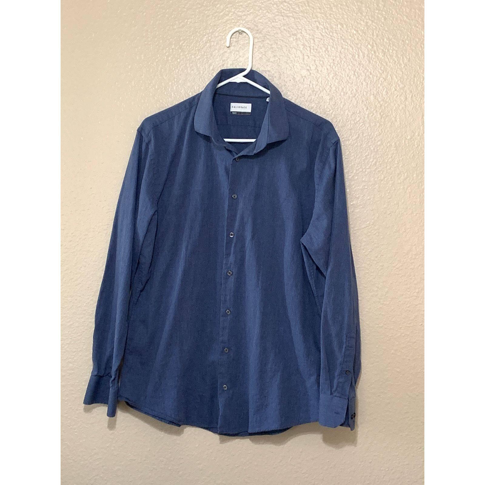CALIBRATE Blue trim fit dress shirt 17