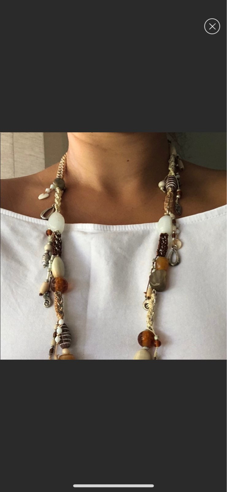 Macrame Bead and Chain Coastal Vibe Neck