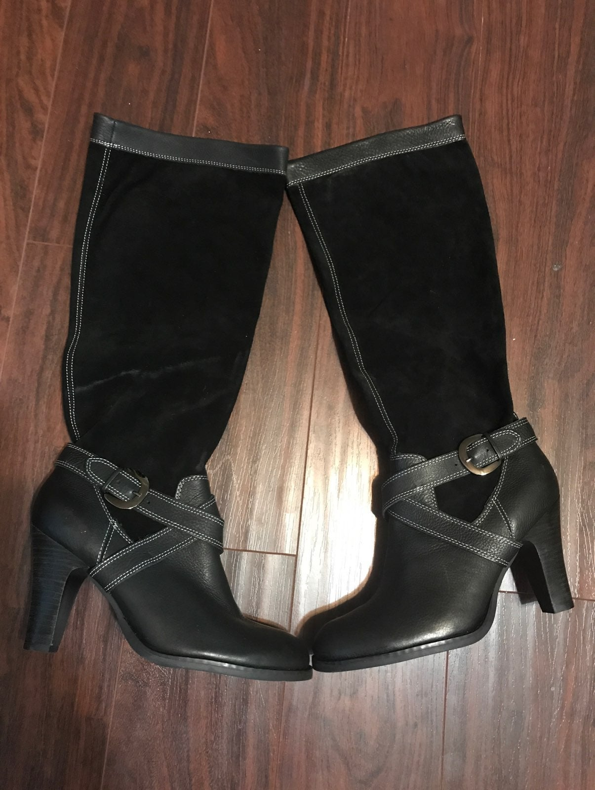 Black tall two tone boots