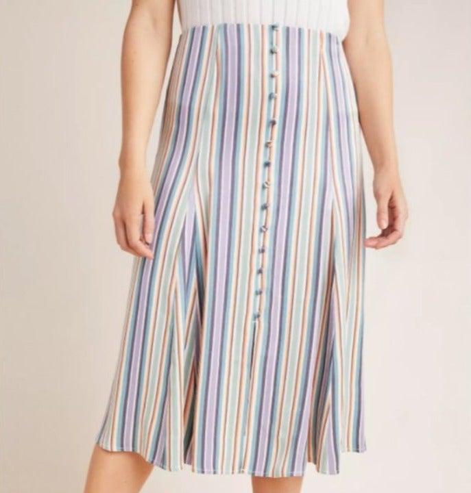 Anthropologie Freya Striped Midi Skirt 4