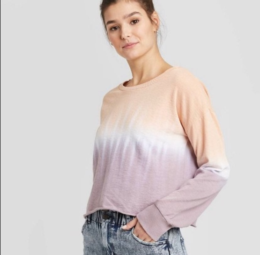 NEW Peach + Mauve Cropped Long Sleeve