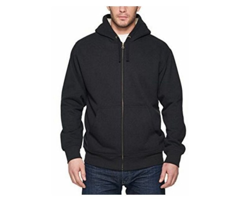 Men's Black Full Zip Sherpa Hoodie