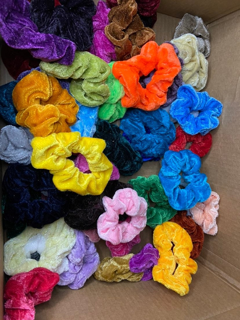 15 large velvet scrunchies assorted