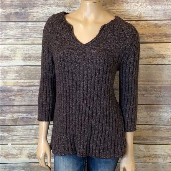 J.Jill Sweater V Neck Ribbed Purple L