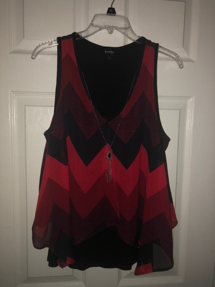 By & By Red & Black Chevron Tank Top