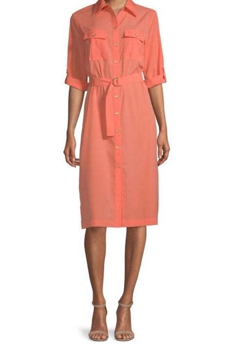 Worthington Long Sleeve Midi Shirt Dress