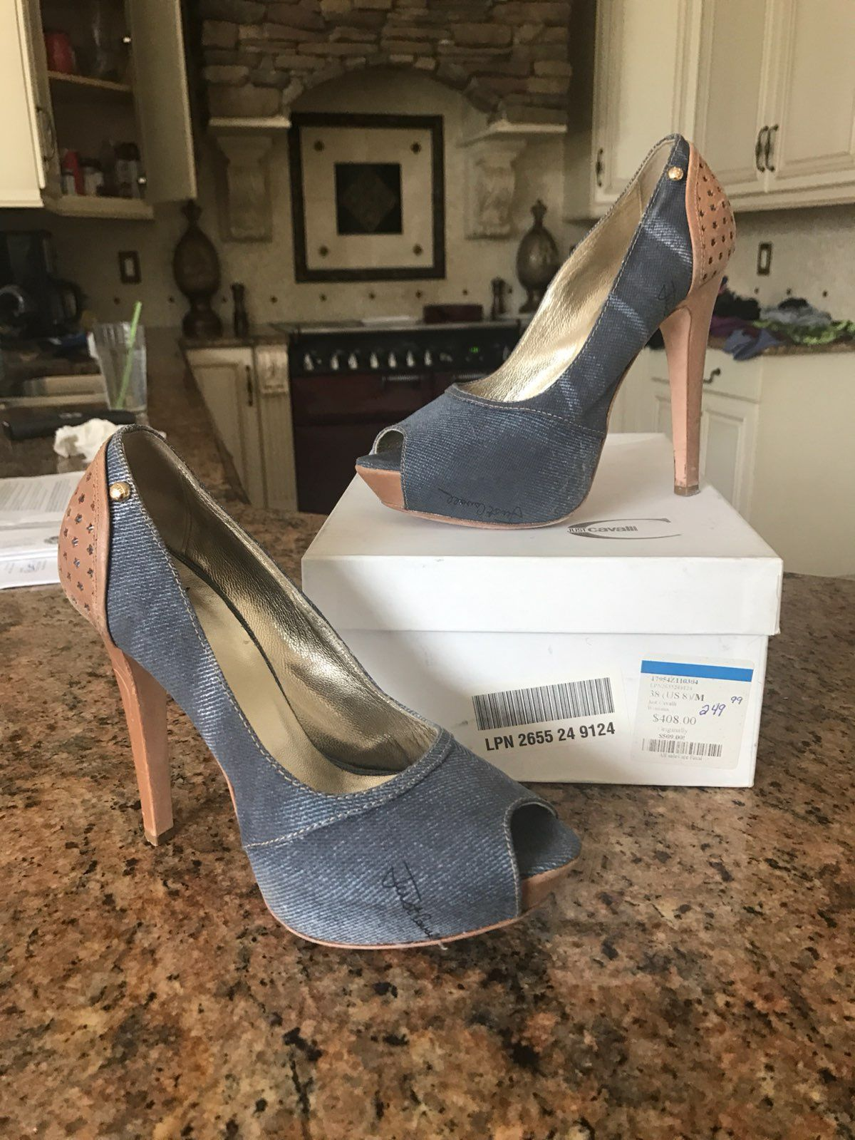 Roberto Just Cavalli Denim Pump Heels 8