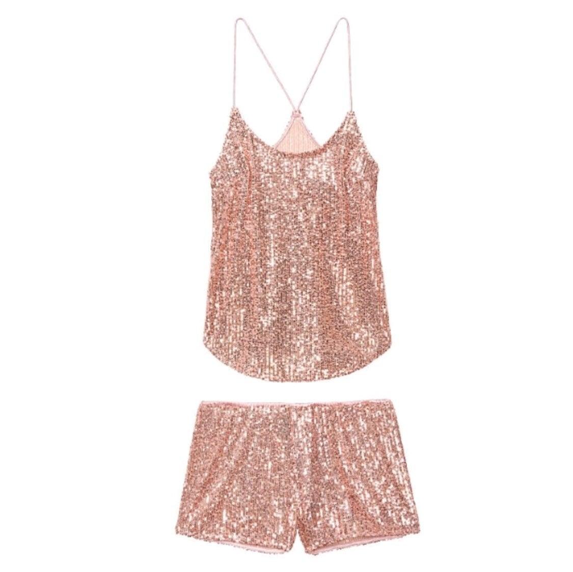 NWT Victoria's Secret Rose Gold Sequins