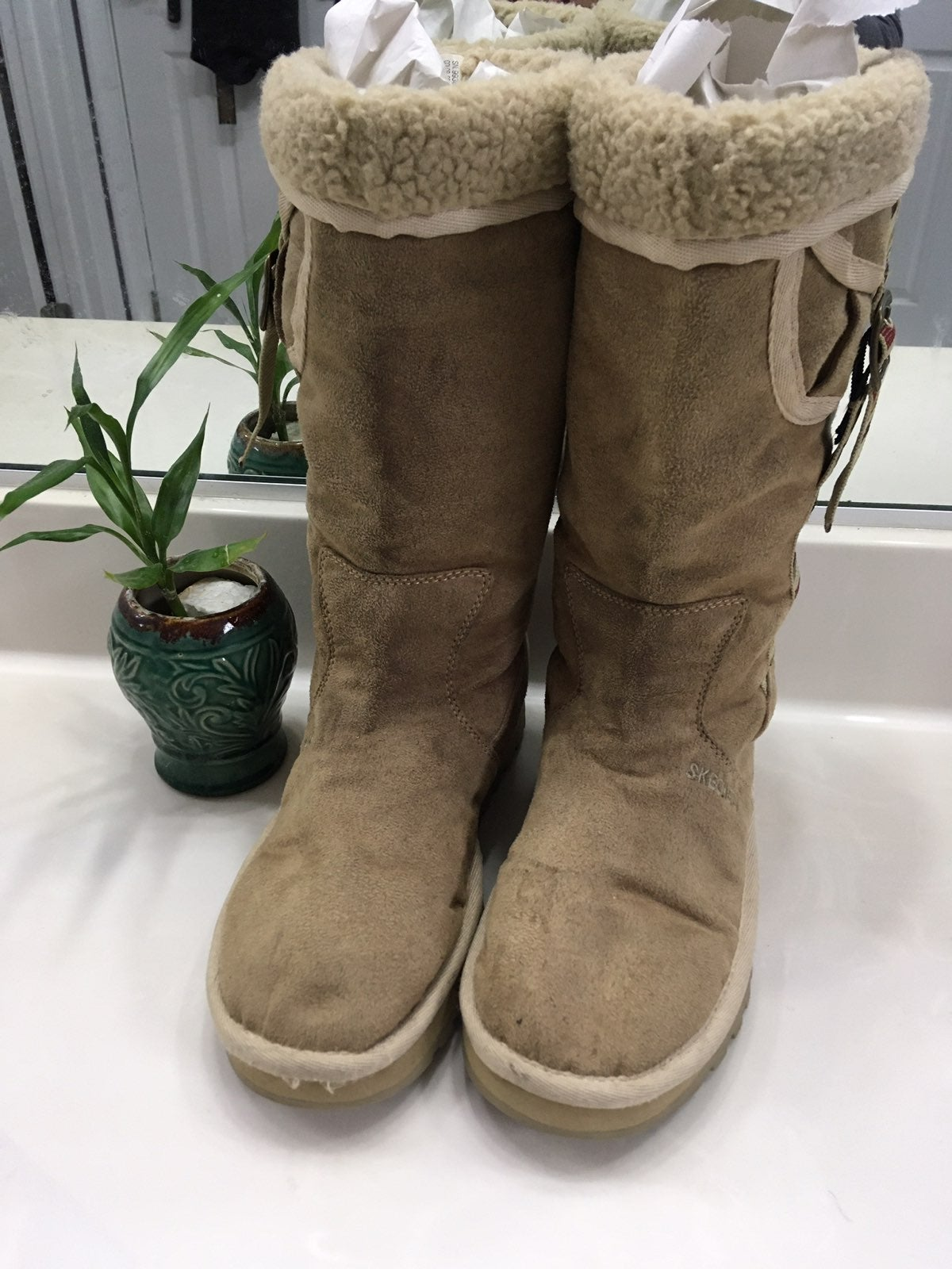 Faux Suede Sands Fur Lined Tall Boots