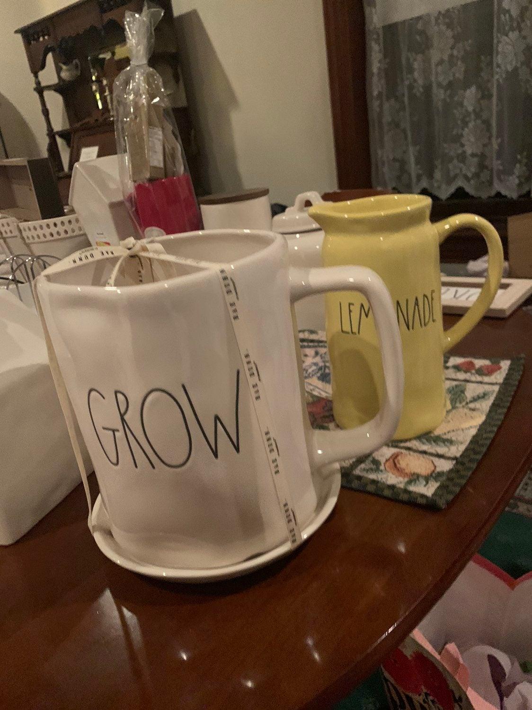 """Rae dunn """"Grow"""" Mug planter"""