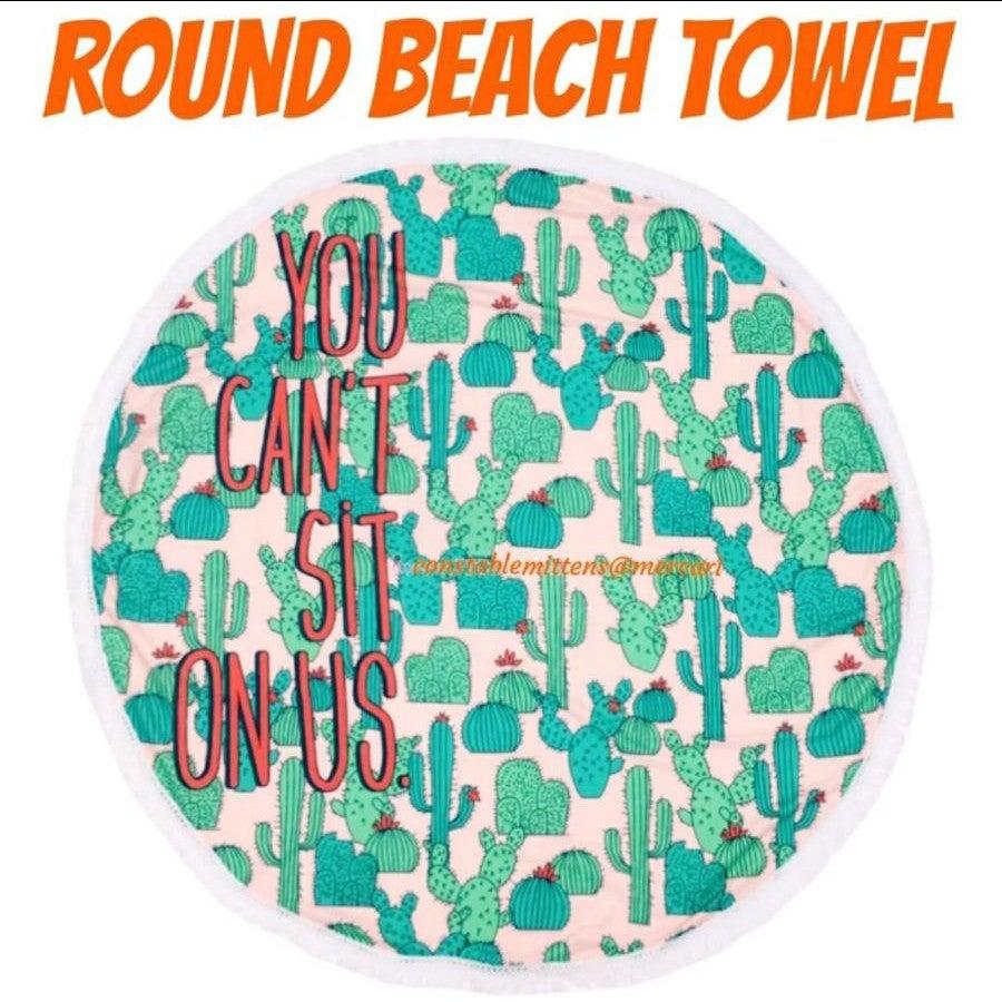 Round Beach Cactus Towel Yoga