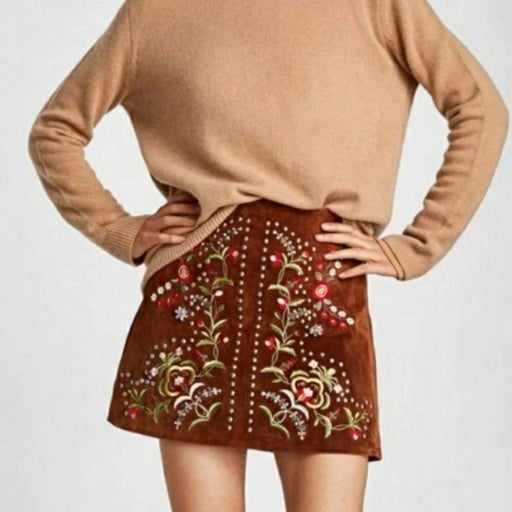 New Zara Embelished Brown Leather Skirt