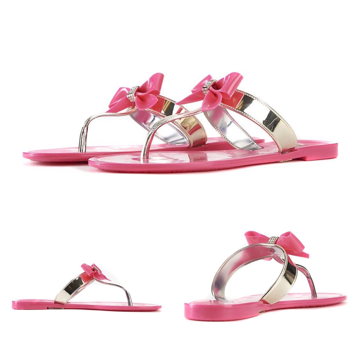 Pink Jelly Thong Sandals Jeweled Bow 10