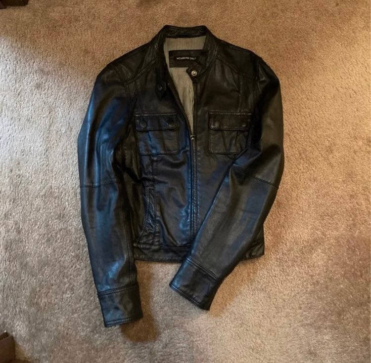 Genuine Leather members only moto jacket